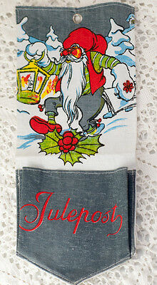Vintage Santa Christmas Post Wall Hanging Norwegian Swedish Scandinavian Jul