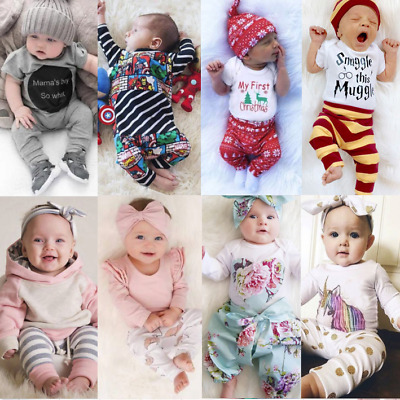 UK Newborn Baby Boys Girls Outfit Set Rompers Tops Playsuit Pants Hats Clothes