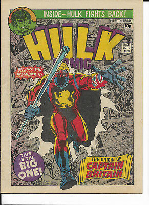 Hulk Comic #31 Marvel UK 1979 featuring Captain Britain