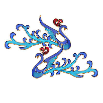 2Pcs Chinese Style Cloisonne Phoenix Charms for DIY Bridal Costume Headdress