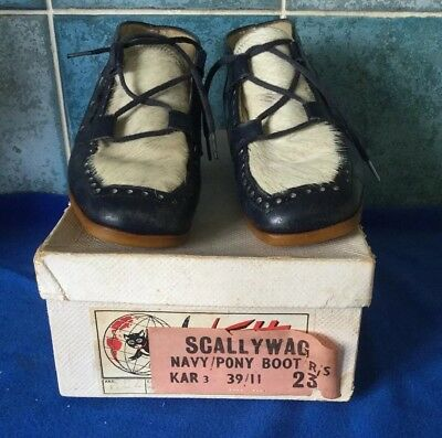 Vintage Children's Toddler Lace Up Navy Leather Pony Boots By Scallywag c1960s