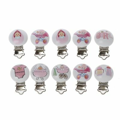 5 PC Metal Wooden Baby Pacifier Clips Mixed Pattern Infant Soother Clasps Holder