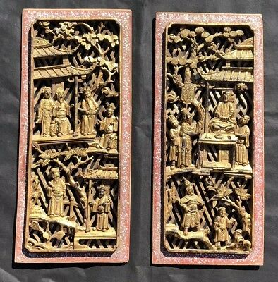 ANTIQUE CHINESE WOOD CARVED TEMPLE PIERCED GILT PLAQUES 1800's