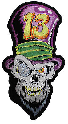 14d37803a12 Skull With Top Hat Embroidered Iron On Patch - Lucky 13 Skeleton Biker MC