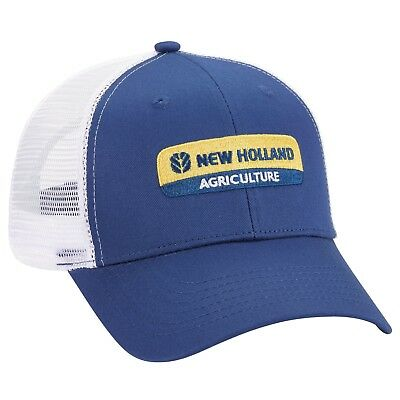 New Holland Blue Cap with White Mesh Men s Adjustable Cloth Strap NH323427 681507445064