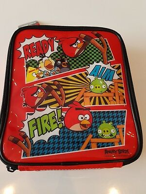 NEW Childrens Red Angry Birds Design School Food Packed Lunchbox Cooler Bag Box