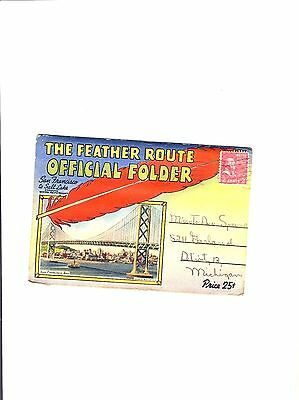 """Vintage """"The Feather Route""""  Official Viewfolder (18) Views Late 1940's"""