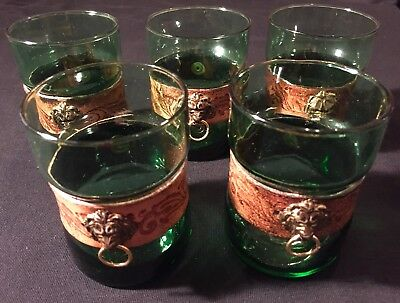 Set 5 Vintage Italian Green Drinking Liqueur Glasses Leather Wrapped Lion Head