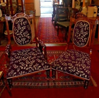 Stunning, Beautiful Mr & Mrs Original Victorian chairs CM2 Essex. New Upholstery