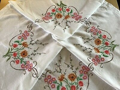 Vintage Hand Embroidered Linen Tablecloth With Exquisite Blossom