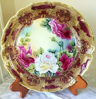 Beautiful Nippon Burgundy Roses & Gold Display Platter, hand painted porcelain