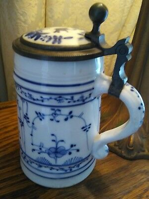 antique Meissen porcelain lithophane stein blue white onion pewter Germany