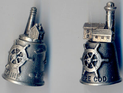 CAPE COD & MAINE Skilfully Detailed TWO PEWTER THIMBLES - New in Box
