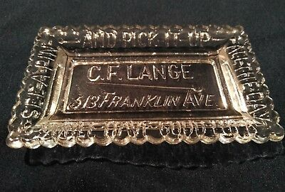 C.F. LANGE Glass Advertising Tip Tray St Louis 1886  Unique *RARE* MINT!