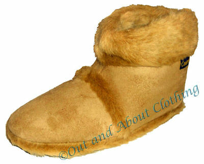 Coolers Mens Fluffy Boot Slippers - Beige