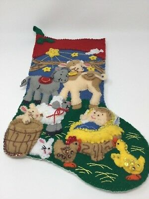 """Finished Bucilla 83659 Away in a Manger 18"""" Felt Stocking Ready to Name and Use"""