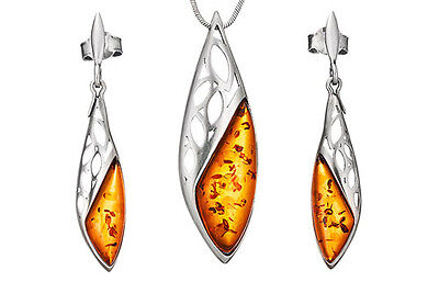 Solid 925 Sterling Silver & Amber Icicles Pendant Dangle Earrings Set +Chain