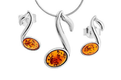 Sterling Silver & Baltic Amber Notes Pendant Stud Earrings Set Jewellery +Chain