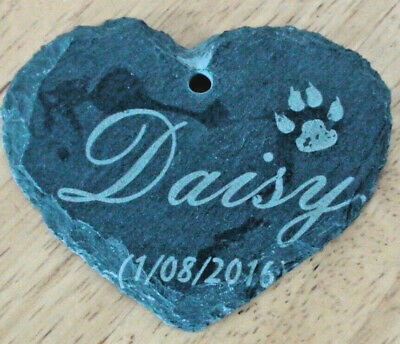 Personalised Pet Memorial pendant for your beloved dog.Engraved slate love HEART