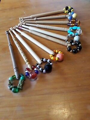 10 Lace making wooden bobbins with nice spangles   J