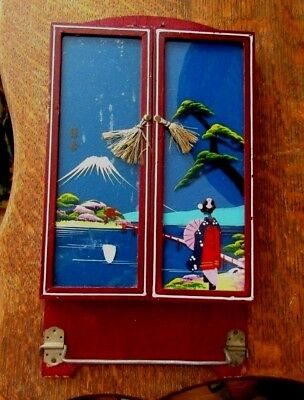 Old Japanese Geisha's Folding Wall Mirror  Hand Painted Glass Towel Rack Signed