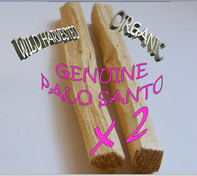 2 x GENUINE PALO SANTO Holy Wood ORGANIC Sacred Incense Smudge Sticks 🌕