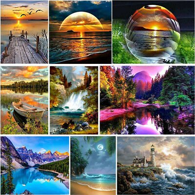 Full 5D Diamond Scenery Painting Embroidery View Cross Stitch Home Decor Craft