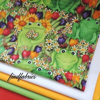 Happy Deb Frogs & Daises ~ Timless Treasures 100% Cotton Fabric ~ Quil Craft Sew