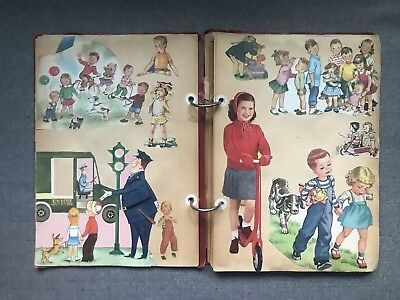 Vintage Scrapbook Filled Childrens Cutouts - 50s 40s Animal School Book Nature