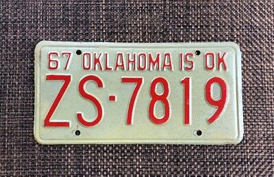 1967 Vintage Classic Oklahoma passenger license plate. ZS 7818 Barn find.