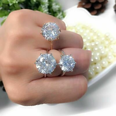 Silver Cubic Zirconia Crystal Promise Wedding Rings for Women 5 Carat Bride Acce
