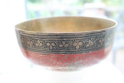 Antique Oriental Painted Finely Embossed Brass Bowl - No Reserve