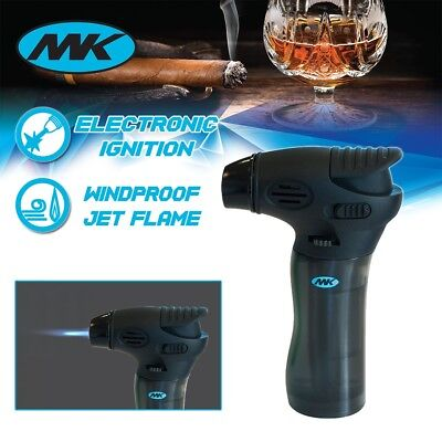 MK Lighter Jet Torch Adjustable Flame Windproof Safety Lock Refillable Gas Black