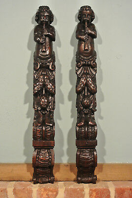 Pair of large 16th Century English Relief Carved Oak Figural Caryatids