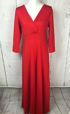 d5c3b63277dc8 Poseshe Womens Maxi Dress Large Wrap Neck 1 2 Sleeve Solid Red Evening NWT