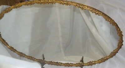 Vintage Brass  Accessories Floral Motif Oval Mirrored Vanity Tray