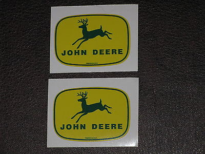 """JOHN DEERE LOGO TOY 1.75"""" 1940's PRINTED IN U.S.A (2) TWO DECAL STICKER TRACTOR"""