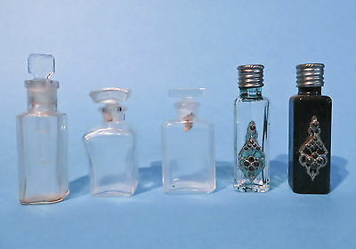 MINIATURE PERFUME GLASS BOTTLES Lot of 5