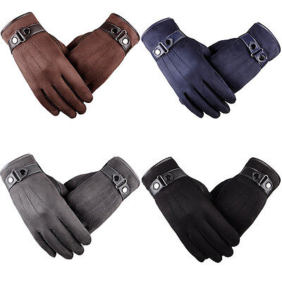 Men's Touch Screen Leather Gloves Thermal Fleece Lined Black Driving Winter Gift