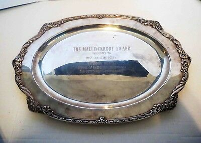 Large Antique Silver Tray PRESTIGIOUS PHARMACY MALLINCKRODT AWARD - 1 OF A KIND
