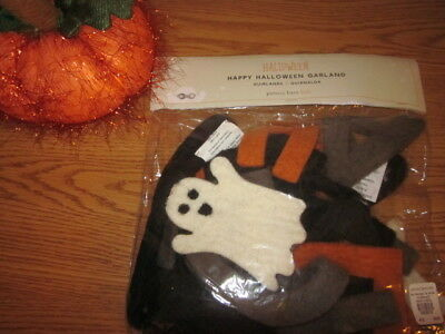 Pottery Barn Kids Felted WOOL Happy Halloween Ghost Banner Garland Rare  NEW