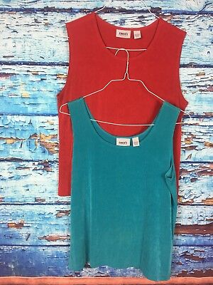 Travelers By Chicos Lot Of 2 Womens Red Turquoise Tank Blouse Tops Size 3