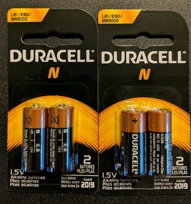 4 x N Duracell Alkaline Batteries LR1 E90 MN9100 1.5V Original Packaging- USA