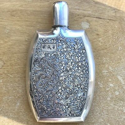 Sterling Silver Engraved Pocket Flask Vintage