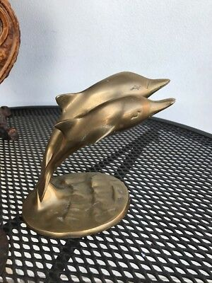 Vintage Large Pair Of Solid Brass Dolphins Sculpture