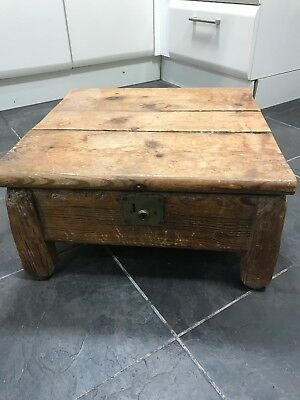 Coffee table storage box wooden rustic blanket chest toy chunky Vintage