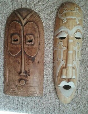 Tiki /Aztec Tribal Wood Carved Face Wall Plaque Decor