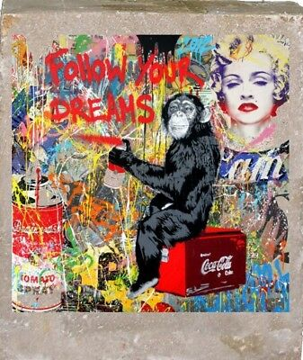 Mr.Brainwash dreams Mini Grafitti PRINT IN cement NUM COA us