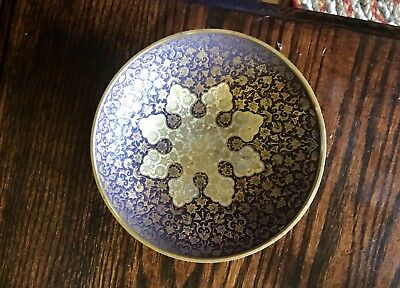 Vintage Solid Brass Hand Painted Enamel Bowl Made In India