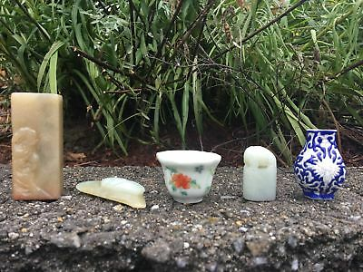 Group Of Five Chinese Antique Cup, Pot, Jade Carving, Soapstone Seal,etc